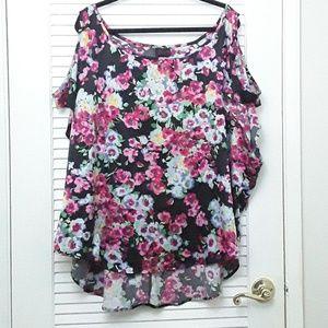 Torrid Open Shoulder Floral Top Blouse Plus 22/24